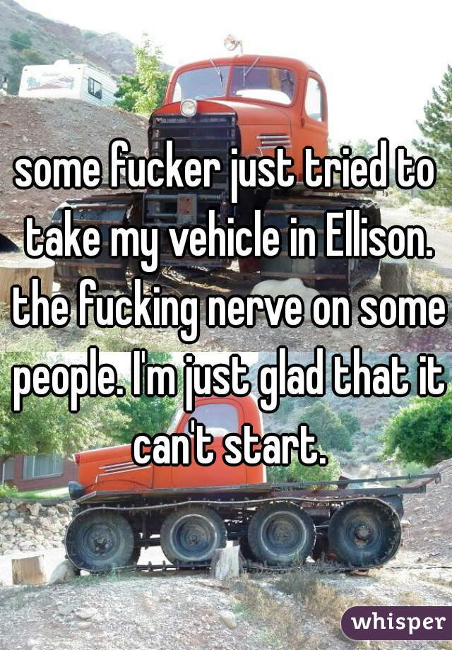 some fucker just tried to take my vehicle in Ellison. the fucking nerve on some people. I'm just glad that it can't start.
