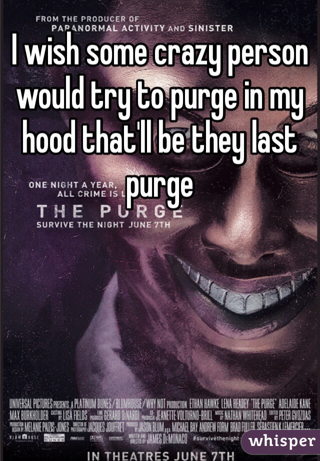 I wish some crazy person would try to purge in my hood that'll be they last purge