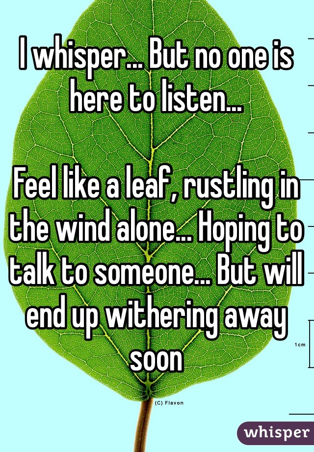 I whisper... But no one is here to listen...  Feel like a leaf, rustling in the wind alone... Hoping to talk to someone... But will end up withering away soon