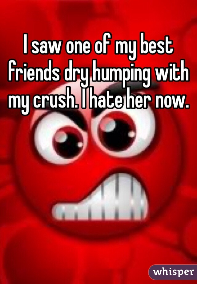 I saw one of my best friends dry humping with my crush. I hate her now.