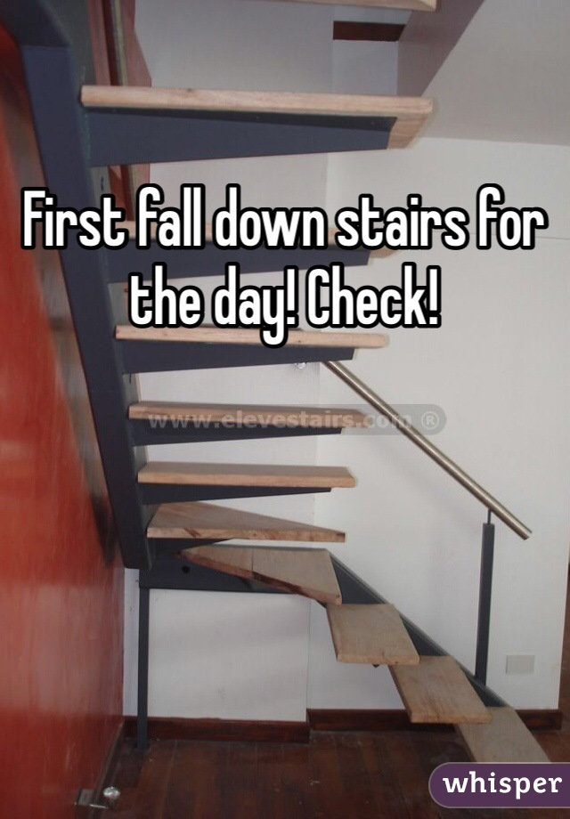 First fall down stairs for the day! Check!