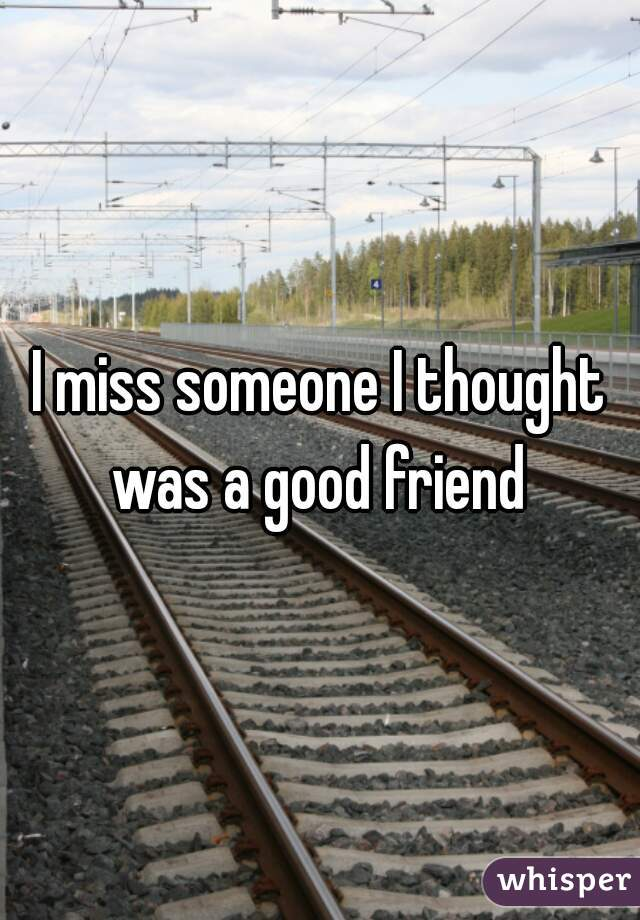 I miss someone I thought was a good friend