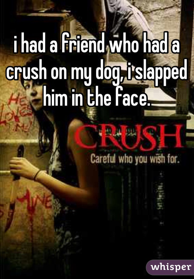 i had a friend who had a crush on my dog, i slapped him in the face.