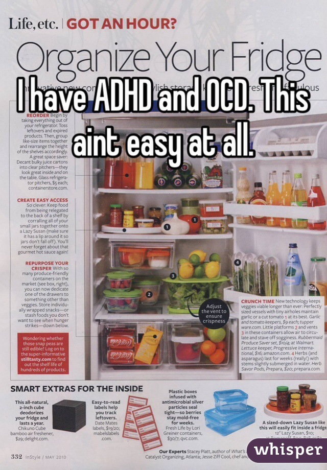 I have ADHD and OCD. This aint easy at all.