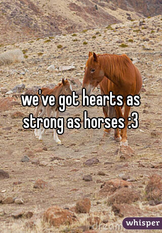 we've got hearts as strong as horses :3