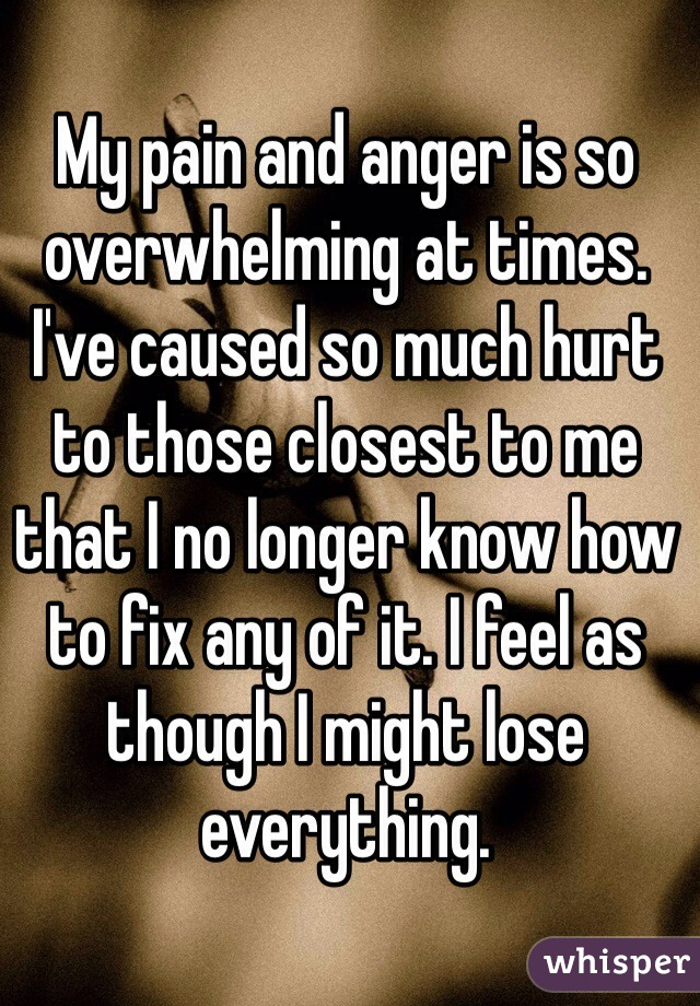 My pain and anger is so overwhelming at times. I've caused so much hurt to those closest to me that I no longer know how to fix any of it. I feel as though I might lose everything.