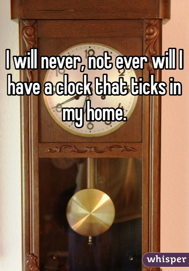 I will never, not ever will I have a clock that ticks in my home.