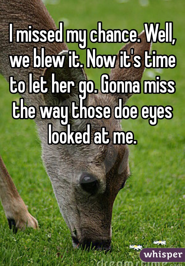 I missed my chance. Well, we blew it. Now it's time to let her go. Gonna miss the way those doe eyes looked at me.