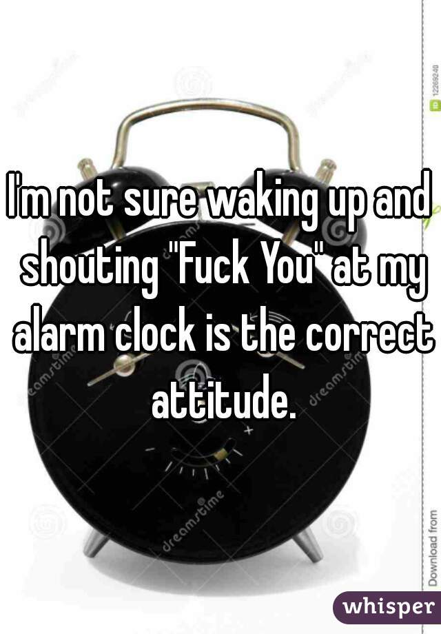 "I'm not sure waking up and shouting ""Fuck You"" at my alarm clock is the correct attitude."