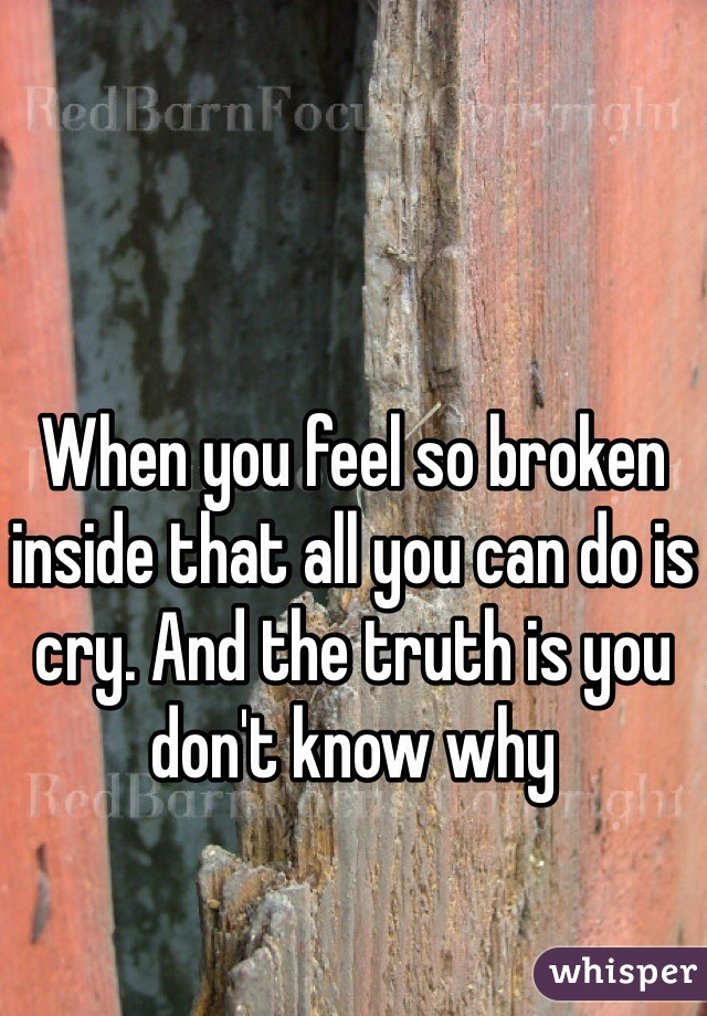 When you feel so broken inside that all you can do is cry. And the truth is you don't know why