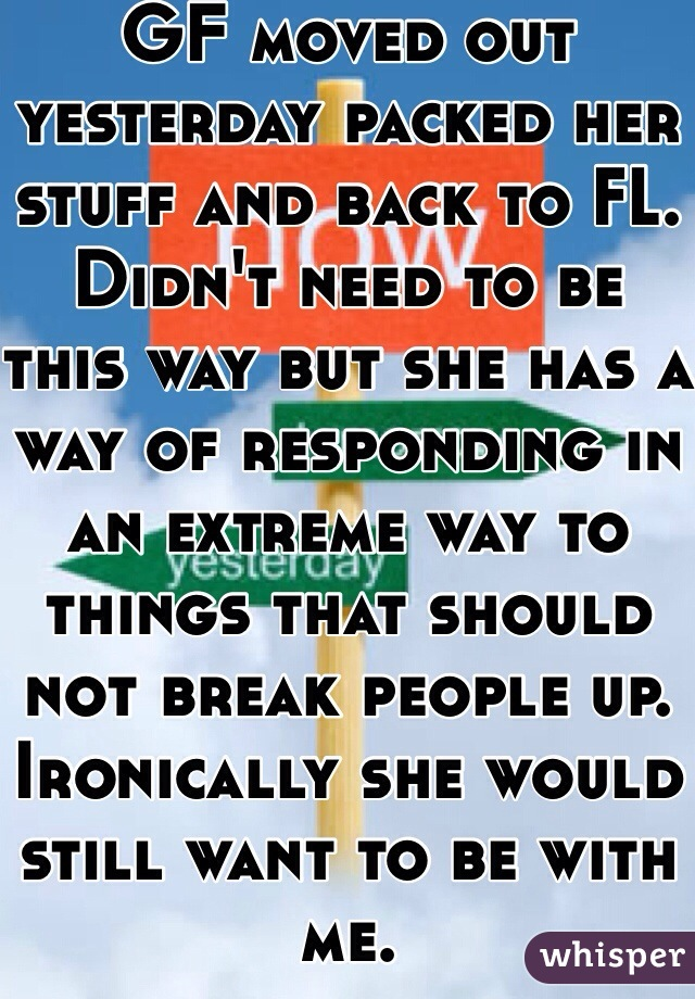 GF moved out yesterday packed her stuff and back to FL.  Didn't need to be this way but she has a way of responding in an extreme way to things that should not break people up.  Ironically she would still want to be with me.