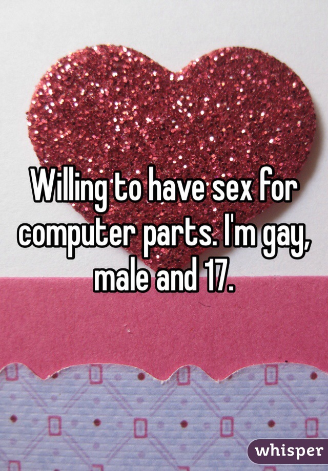 Willing to have sex for computer parts. I'm gay, male and 17.
