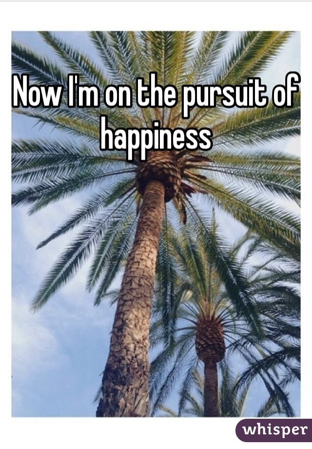 Now I'm on the pursuit of happiness