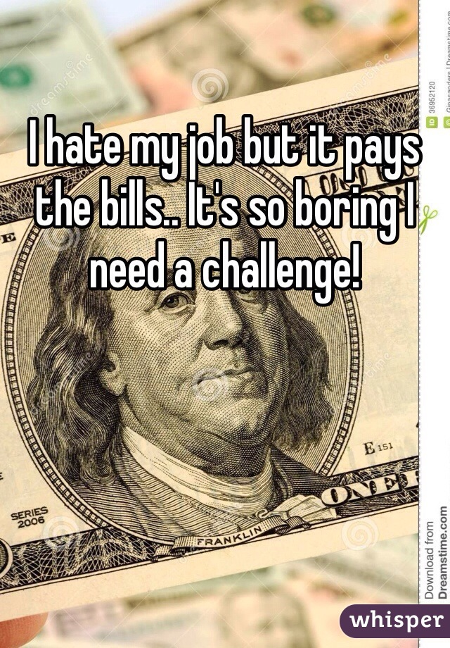I hate my job but it pays the bills.. It's so boring I need a challenge!