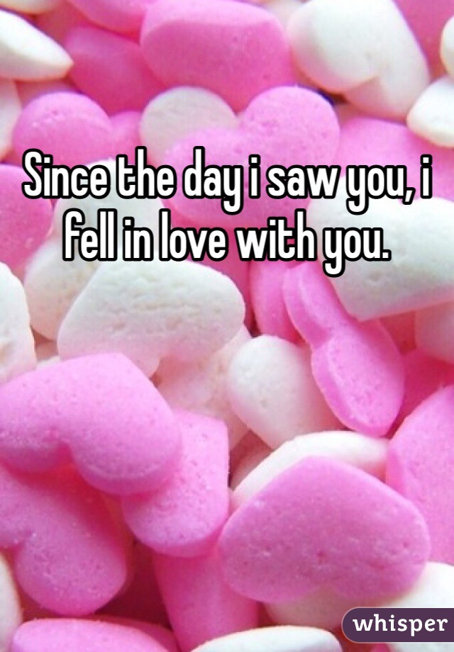 Since the day i saw you, i fell in love with you.