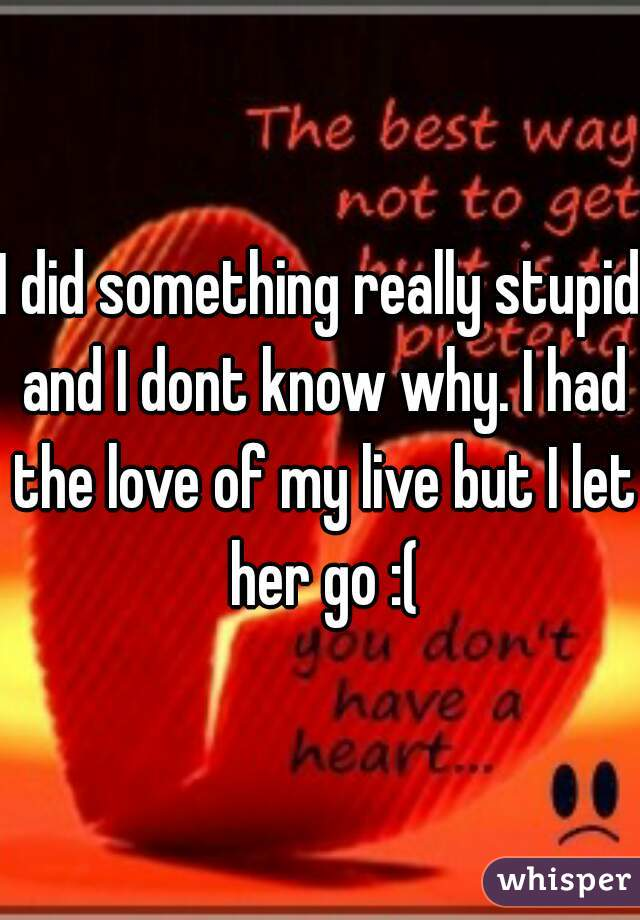I did something really stupid and I dont know why. I had the love of my live but I let her go :(