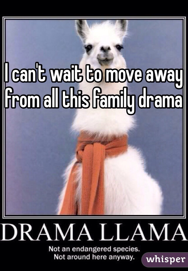 I can't wait to move away from all this family drama