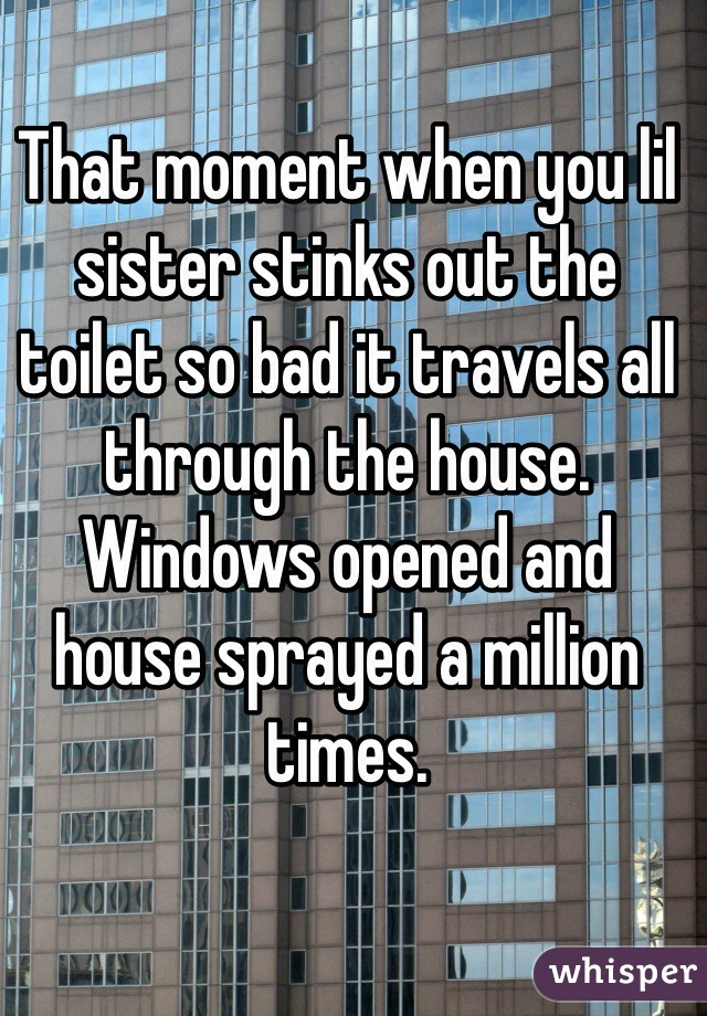 That moment when you lil sister stinks out the toilet so bad it travels all through the house. Windows opened and house sprayed a million times.