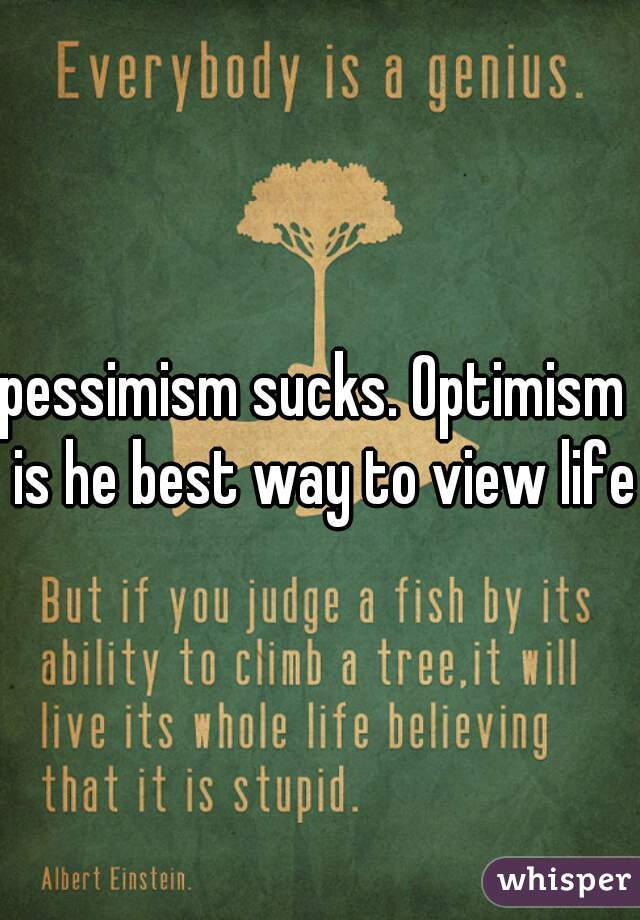 pessimism sucks. Optimism  is he best way to view life.