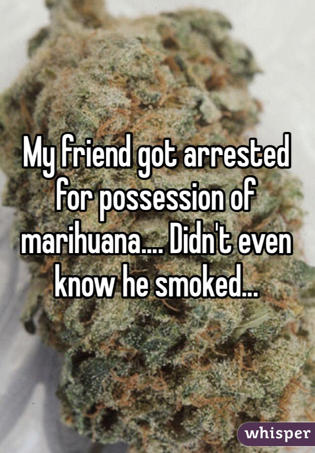 My friend got arrested for possession of marihuana.... Didn't even know he smoked...