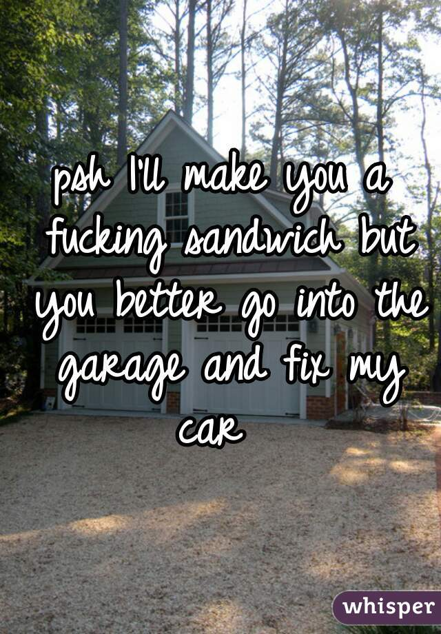 psh I'll make you a fucking sandwich but you better go into the garage and fix my car