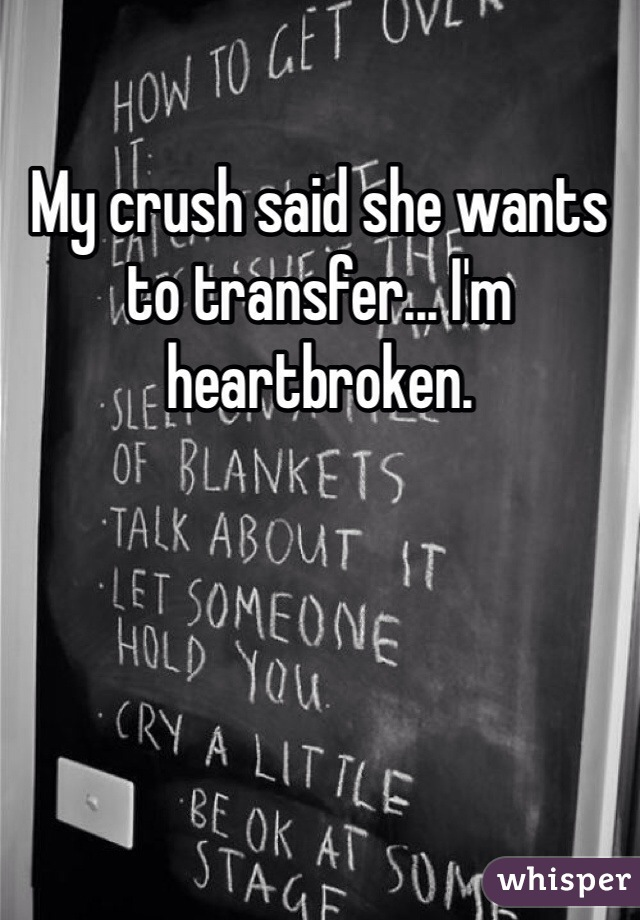 My crush said she wants to transfer... I'm heartbroken.