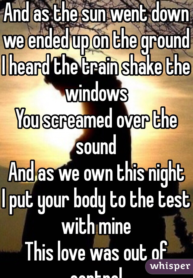 And as the sun went down we ended up on the ground I heard the train shake the windows You screamed over the sound And as we own this night I put your body to the test with mine This love was out of control Tell me where did it go?