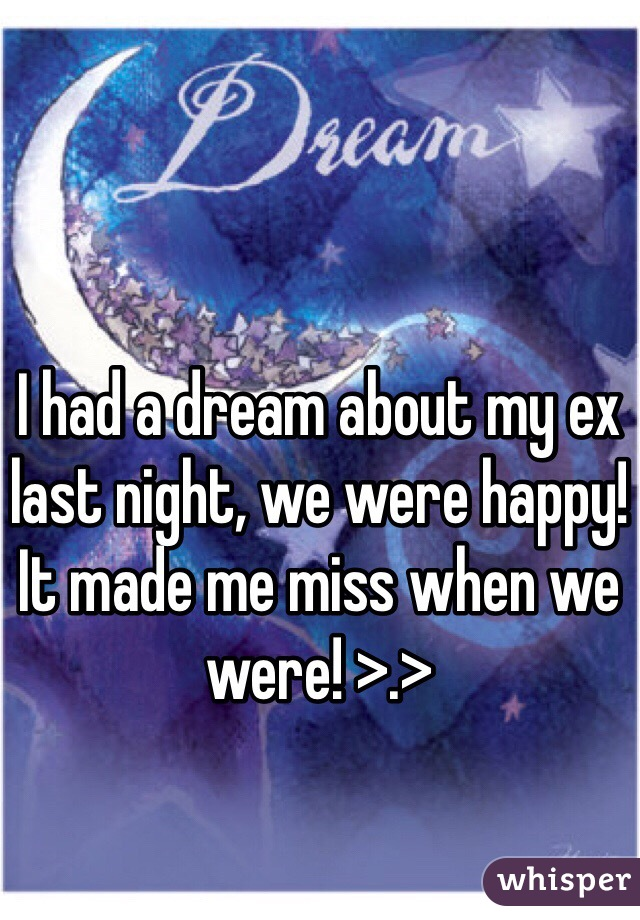 I had a dream about my ex last night, we were happy! It made me miss when we were! >.>