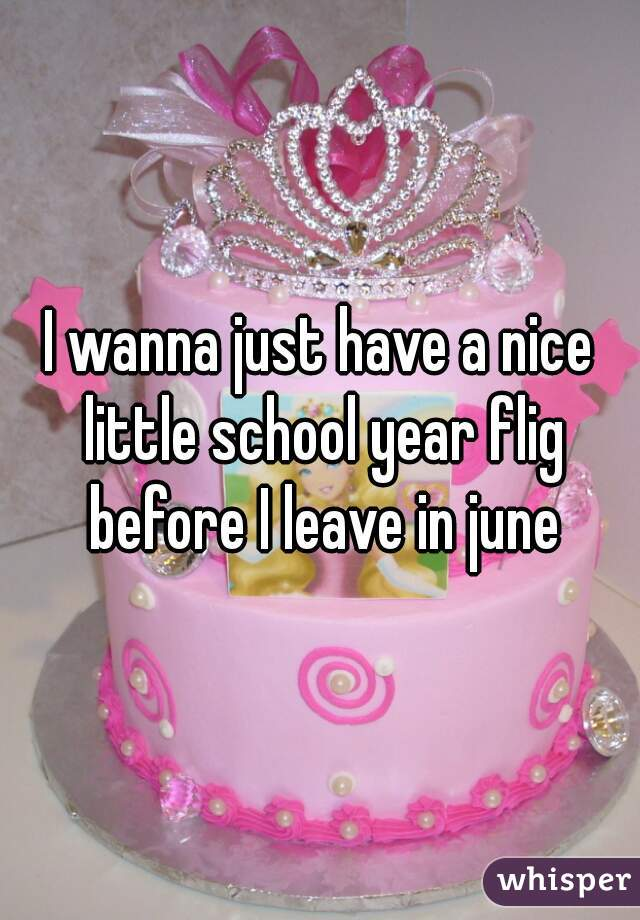 I wanna just have a nice little school year flig before I leave in june