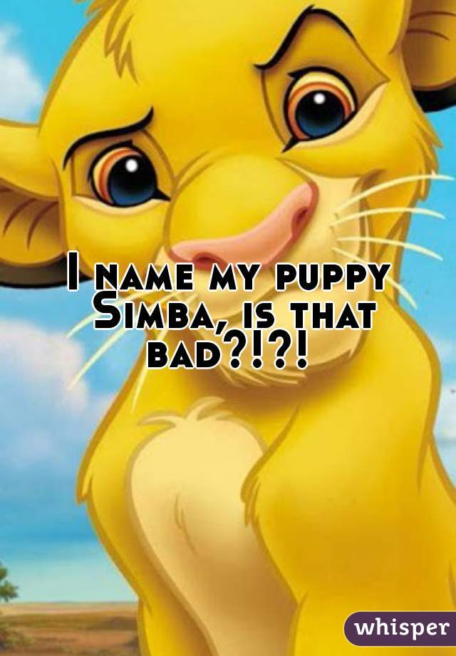 I name my puppy Simba, is that bad?!?!