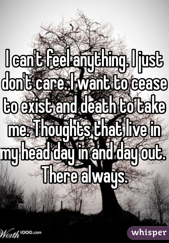 I can't feel anything. I just don't care. I want to cease to exist and death to take me. Thoughts that live in my head day in and day out.  There always.