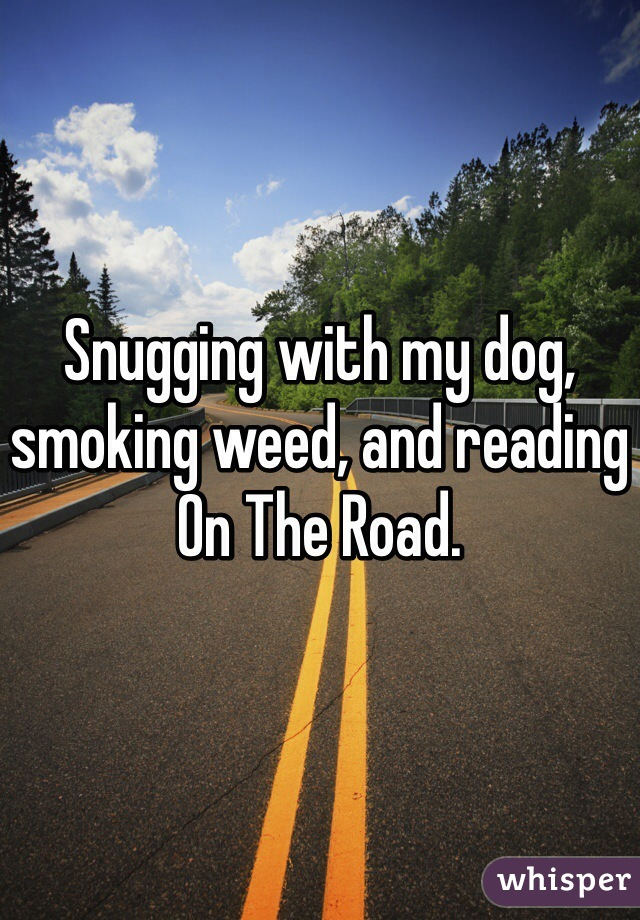 Snugging with my dog, smoking weed, and reading On The Road.