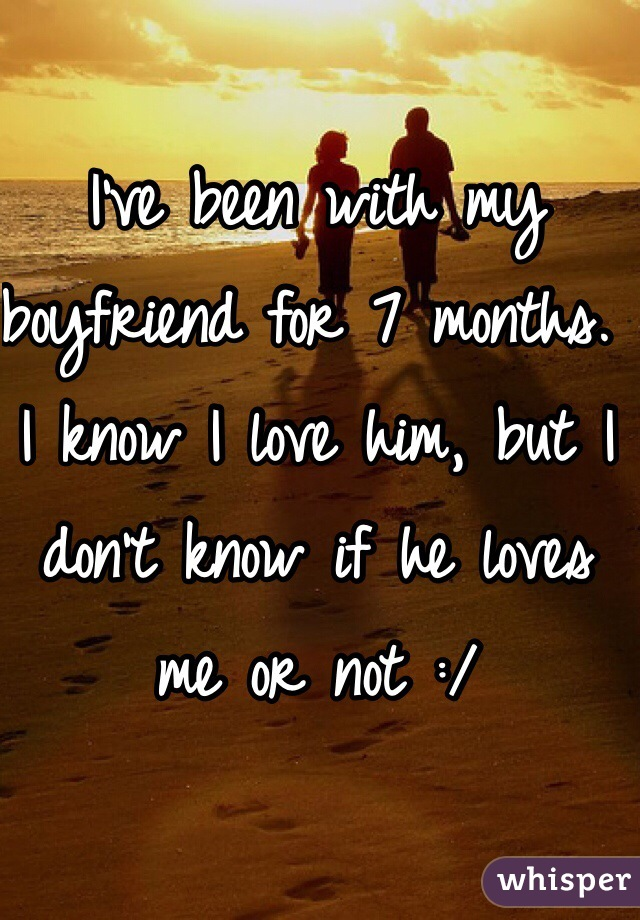 I've been with my boyfriend for 7 months. I know I love him, but I don't know if he loves me or not :/
