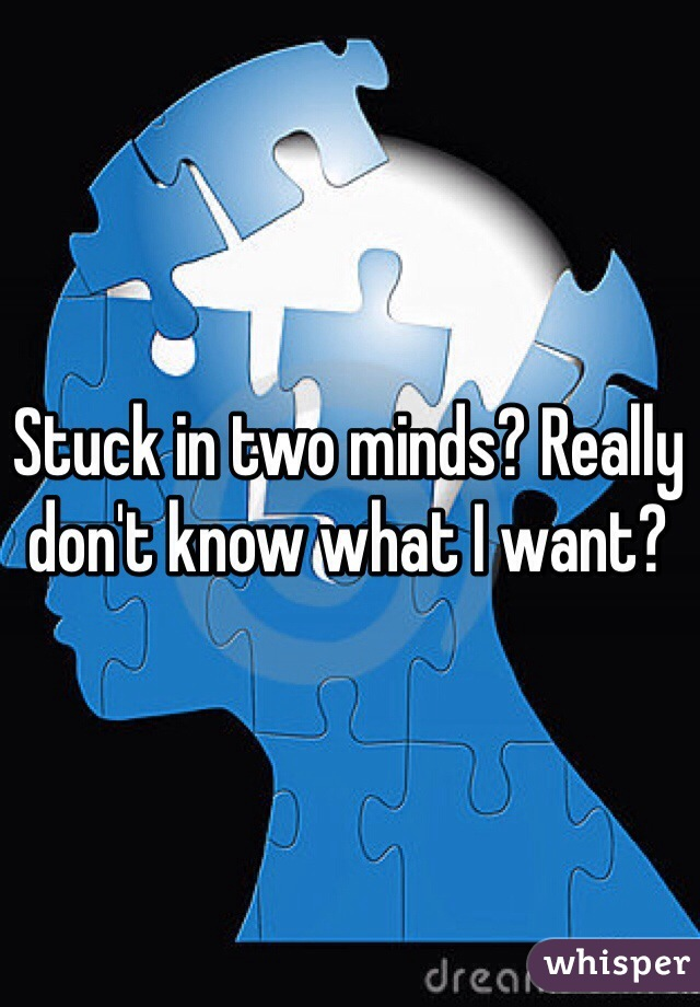 Stuck in two minds? Really don't know what I want?