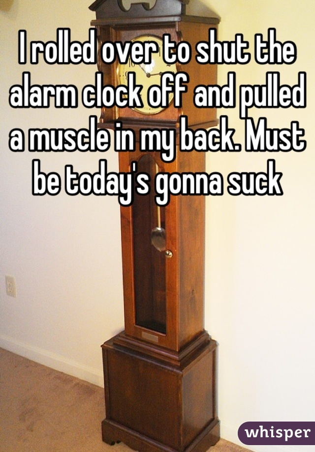 I rolled over to shut the alarm clock off and pulled a muscle in my back. Must be today's gonna suck