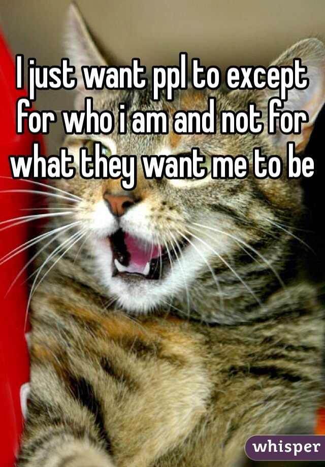 I just want ppl to except for who i am and not for what they want me to be