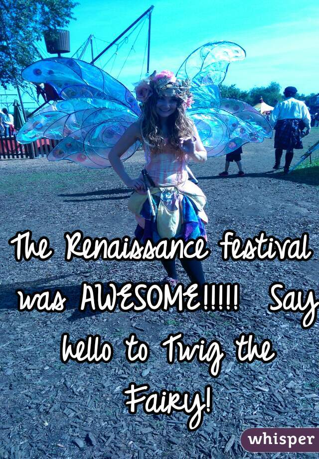 The Renaissance festival was AWESOME!!!!!  Say hello to Twig the Fairy!