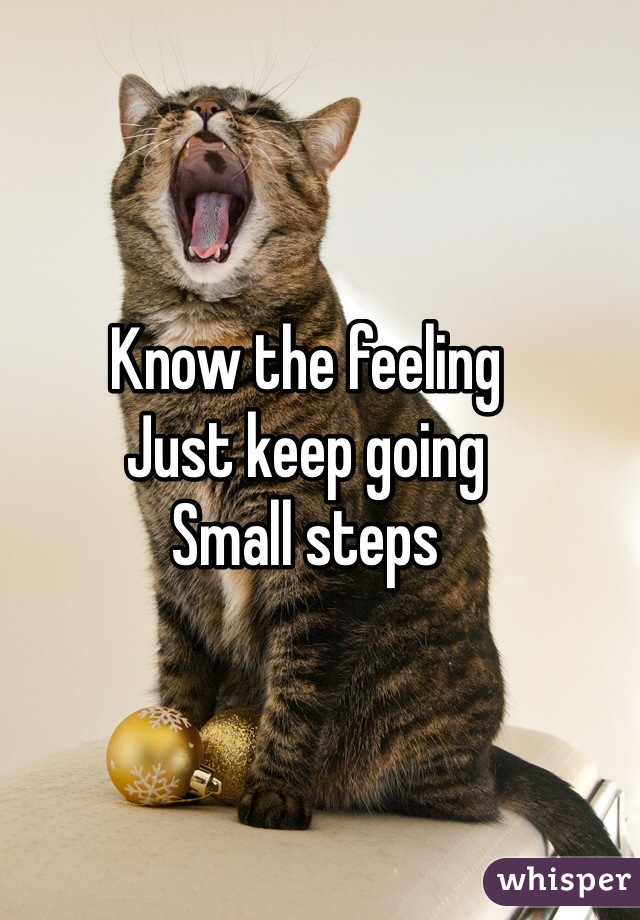 Know the feeling  Just keep going  Small steps