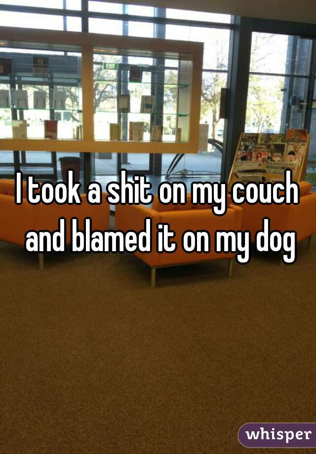 I took a shit on my couch and blamed it on my dog