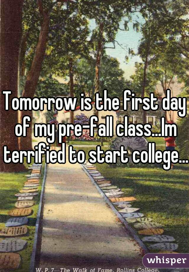 Tomorrow is the first day of my pre-fall class...Im terrified to start college...