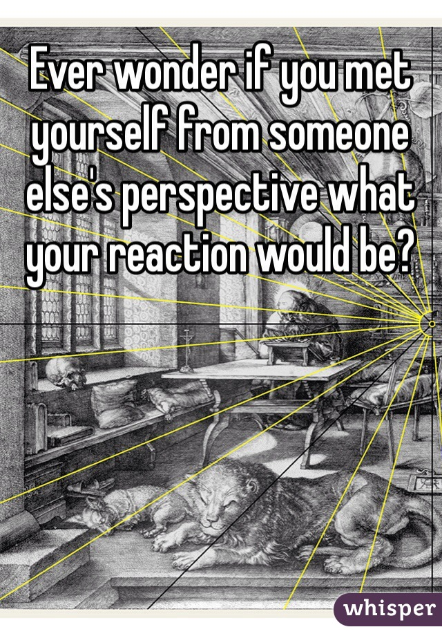 Ever wonder if you met yourself from someone else's perspective what your reaction would be?