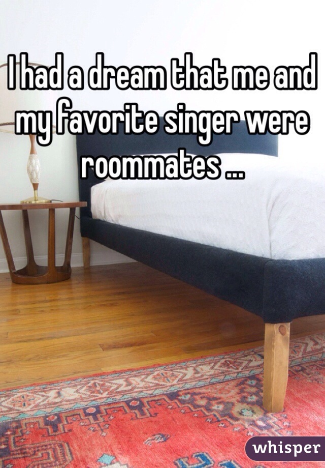 I had a dream that me and my favorite singer were roommates ...