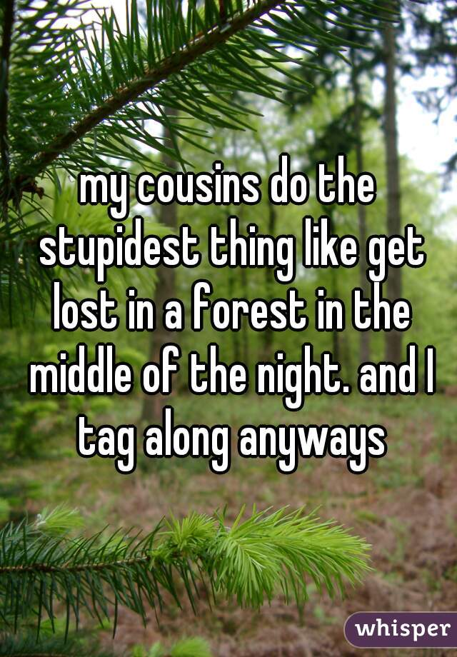 my cousins do the stupidest thing like get lost in a forest in the middle of the night. and I tag along anyways