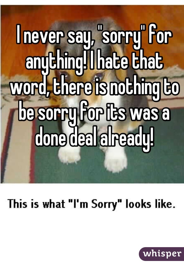 """I never say, """"sorry"""" for anything! I hate that word, there is nothing to be sorry for its was a done deal already!"""