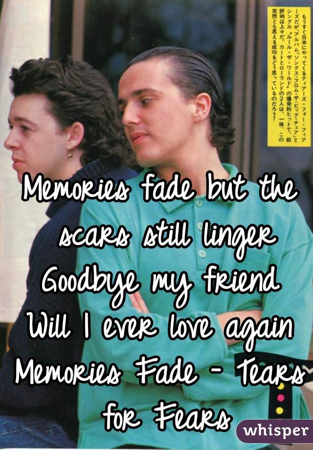 Memories fade but the scars still linger Goodbye my friend Will I ever love again  Memories Fade - Tears for Fears