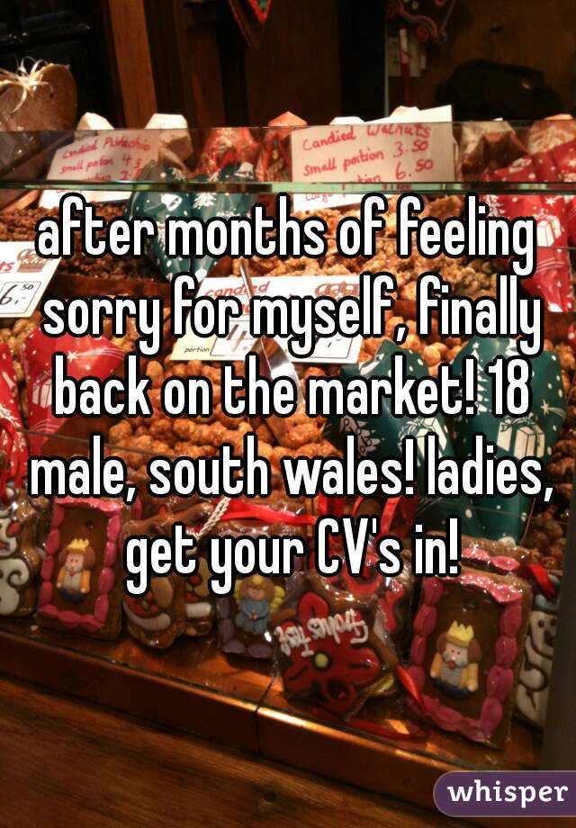 after months of feeling sorry for myself, finally back on the market! 18 male, south wales! ladies, get your CV's in!