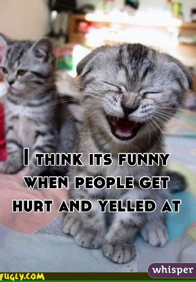 I think its funny when people get hurt and yelled at