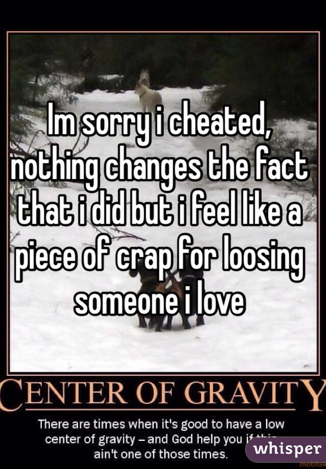 Im sorry i cheated, nothing changes the fact that i did but i feel like a piece of crap for loosing someone i love