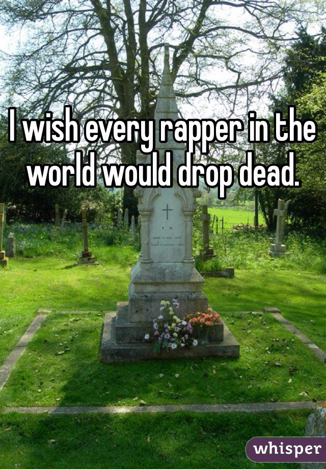 I wish every rapper in the world would drop dead.