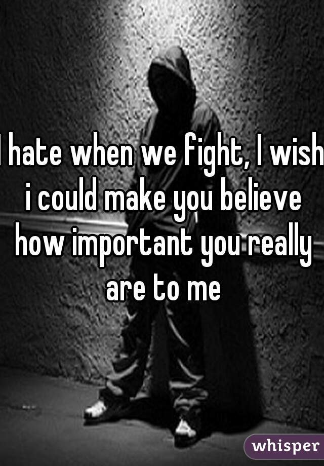 I hate when we fight, I wish i could make you believe how important you really are to me